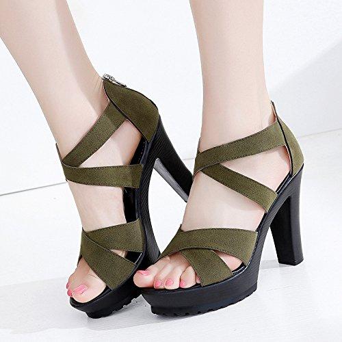 MEI&S Sandales femmes poisson bouche talons bas épais imperméable Scrub Chaussures Dark Khaki niEx8xxrj