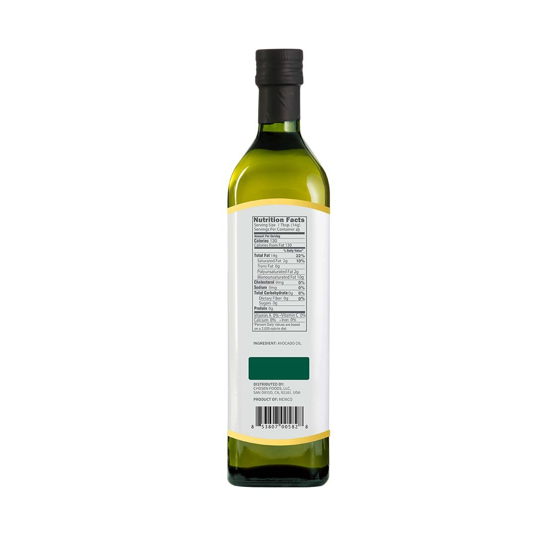 Chosen Foods 100% Avocado Oil Gold Label 25.4 oz, Non-GMO, for High-Heat Cooking, Frying, Baking, Homemade Sauces, Dressings and Marinades by Chosen Foods (Image #2)