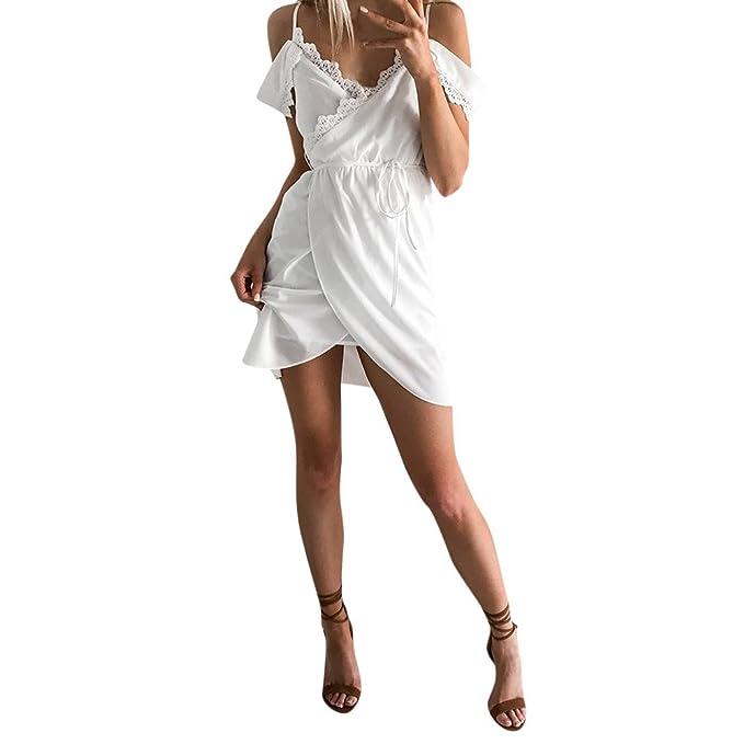 b1c233acbddb Ginli Mini Abiti Da Spiaggia Vestiti Donna Estate Pizzo Patchwork Abito Sexy  Off Tracolla Abito Vestito Eleganti Da Cerimonia  Amazon.it  Abbigliamento