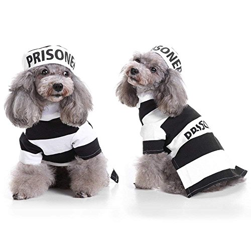 Prisoner Dog Costume - Prison Dog Halloween Costume Party Pet Dog Costume Clothes Cosplay with Hat for Small Pet]()