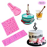 Multi Music Note Lace Silicone Mold and Guitar Music Note Cake Mold for Fondant Mat Cake Decorating Candy Mold Chocolate Cookie Dessert Baking Mold Baking Tool Cupcake Topper(Set of 3)