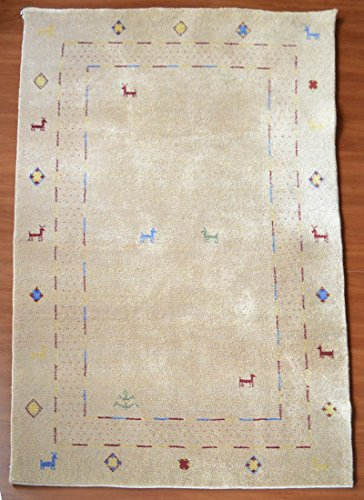 RUGKYLYM Hand Knotted Wool Area Rug For Living Room 5 Feet by 8 Feet (5' x 8') Contemporary Decor Modern Ivory Color Rectangle Handmade in Tibetan LA-04 ()