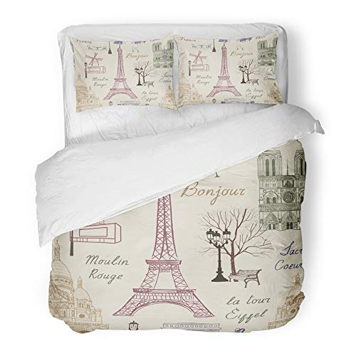 Emvency Decor Duvet Cover Set Twin Size Love Travel Paris Vacation in Europe to Visit Famous Places of France Landmark Cafe 3 Piece Brushed Microfiber Fabric Print Bedding Set Cover -