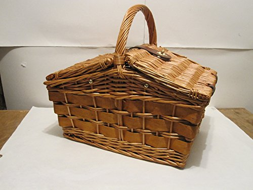 Willow Classic Brown Wicker Picnic Basket 2 Person With Cups, Plates, Utensils With Insulated Cooler