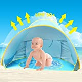 Baby Beach Tent,Oummit Pop Up Baby Tent with Small Beach Pool,Automatic Foldable Portable Baby Sun Shelter with Sun Protection Anti UV Very Suitable for Beach Holidays.(Blue)