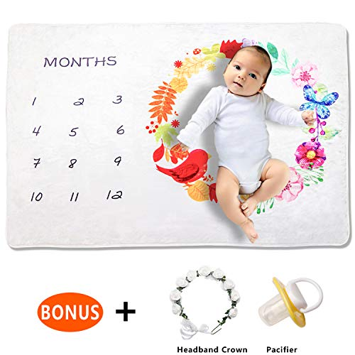 Monthly Baby Milestone Blanket – Boys and Girls Multipurpose Monthly Blanket for Infants and Toddlers – Ultra-Soft Flannel Fleece – 100cm x 150cm – Bonus Headband and Pacifier – Baby Shower