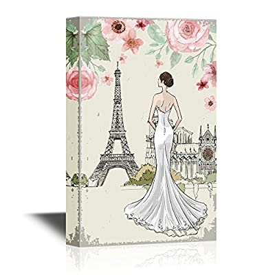 Lady With Eifel Tower And Flowers - Canvas Art