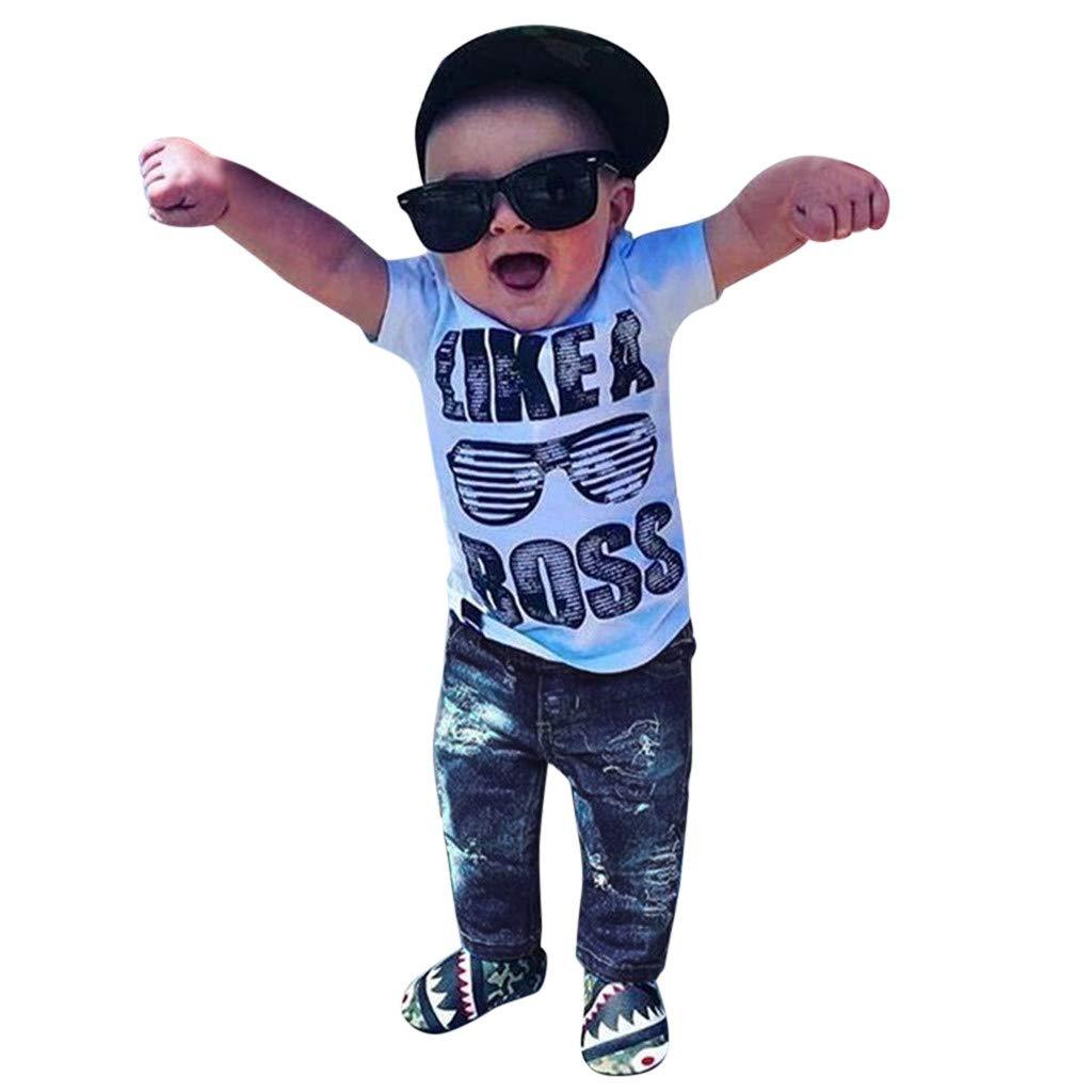 JERFER Kinder Outfit Set Kleinkind Jungen Outfits Kleidung Brief drucken T-Shirt Jeans Jeans Set