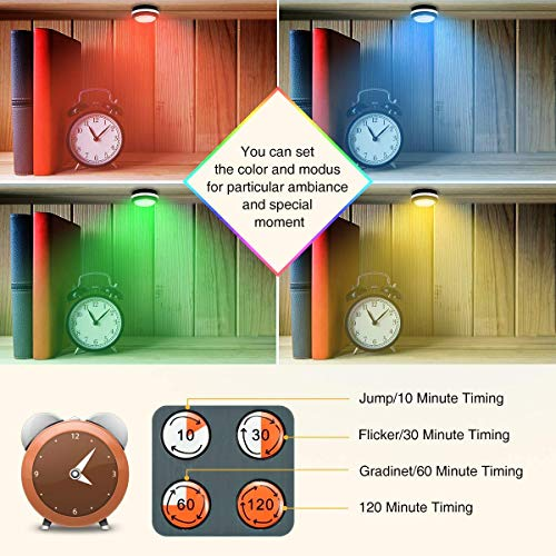 Elfeland Puck Lights with Remote Wireless LED Color Changing Puck Lightings, Dimmable Under Cabinet Lighting, Puck Lights Battery Operated, Closet Lights Under Counter Lighting Stick On Lights(6 Pack)