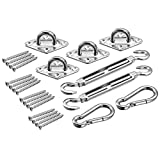 Adv-one Shade Sail Hardware Kit, Stainless Steel Sun Shade Sail Accessory,2pcs Turnbuckle+4pcs Diamond Pad eye+ 2pcs Carbineer/hook+16pcs Screw for Rectangle/Square Sun Shade Sail Installation