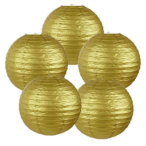 Gold Paper Lanterns (Just Artifacts 10-Inch Gold Chinese Japanese Paper Lanterns (Set of 5,)