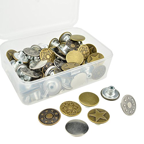 DTTUN 60 Pieces Jeans Button Tack Jacket Buttons Metal Replacement Kit with 60 Pieces Stud Rivet and Storage Box, 6 Styles, Bronze and Silver, 17mm
