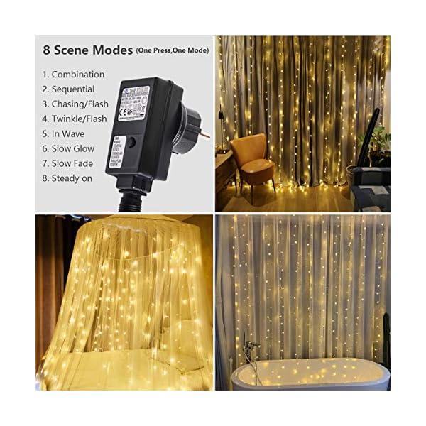 300 luci per tende a LED, 3 x 3 m,8 modalità, IP44 impermeabile, stanza, matrimonio, padiglione da giardino, Halloween,decorazioni natalizie [Classe di risparmio energetico A +++] 2 spesavip