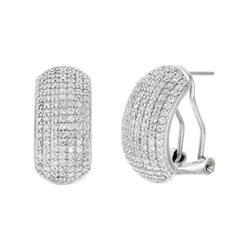 18K White / Gold Over Sterling Silver Cubic Zirconia Convex Leverback Earrings (White Gold) (How To Make A Halo Costume)