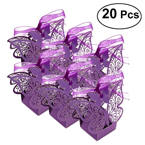 OULII Laser Cut Romantic Butterfly Candy Boxes DIY Gift Sweet Boxes with Ribbons for Wedding Birthday Party Favor 20pcs (Purple) -