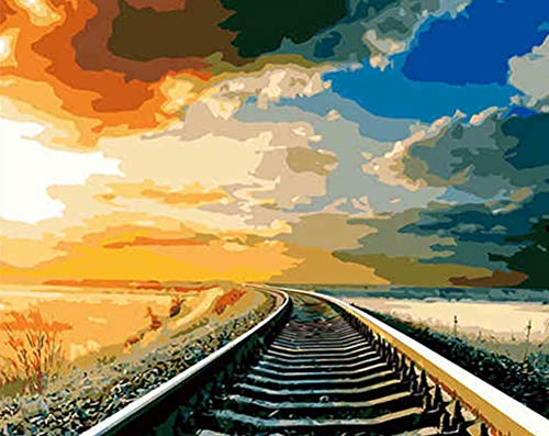 (ABEUTY DIY Paint by Numbers for Adults Beginner - Train Tracks Under The Sky During Journey 16x20 inches Number Painting Anti Stress Toys (Wooden Framed))