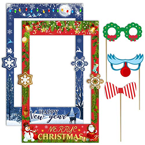 2 in 1 Christmas Photo Booth Prop Frame Merry Christmas Selfie Photo Booth Picture Frame and Props for Christmas and New Year Holiday Party Supplies (2 In Frame 1 Photo)