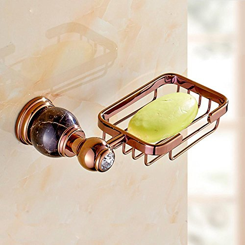 Marble rose gold, copper and jade room European-style square SOAP dish , black-YU&XIN (Style European Soap Dish)