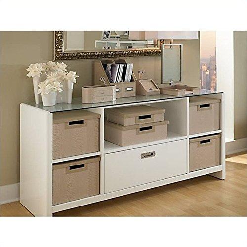 kathy ireland Office by Bush Furniture New York Skyline Credenza/TV Stand, Plumeria White