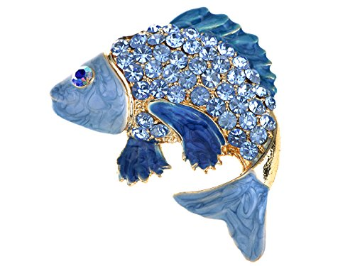 Alilang Koi Gold Fish Carp Golden Tone Enamel Aqua Blue Crystal Rhinestone Ocean Animal Pin Brooch ()
