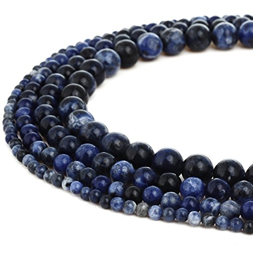 RUBYCA Natural Sodalite Gemstone Round Loose Beads Dark Blue for Jewelry Making 1 Strand - 10mm