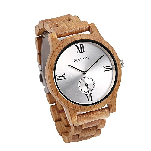 GOGOMY Men's Wrist Watch Oak Wooden Watch Analog Quartz Watches Men with Gift Box (Organic Gifts Delivered)