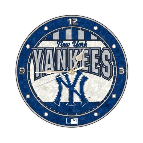 MLB New York Yankees 12-Inch Art Glass Clock