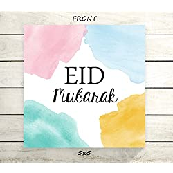 "Eid Mubarak - Flat 5x5"" Greeting Card or Art Print - Pastel Watercolor Pink Yellow Blue Teal Design"