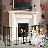 "Charavector Fireplace Gate Fence Baby Safety Gate Play Yard Stairway Barrier Indoor Gate Metal Folding Gate Includes 5 Panels 30"" High"