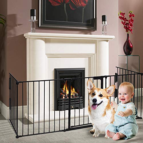 charaHOME Fireplace Fence Baby Safety Gate 121-Inch Wide Adjustable 5-Panel Folding Metal Play Yard for Baby/Pet/Dog…