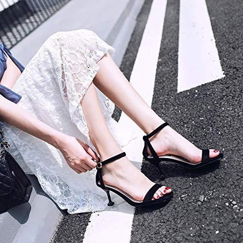 Chaussures Dames Femmes pour Chaton Ouvert Talon Noir Talons Cheville Ruiren Hauts Sandales 8fvxUfq