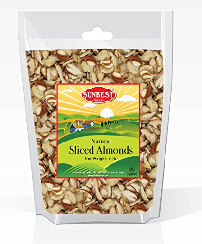 (SUNBEST Unsalted Sliced Raw Almonds 5 Lbs in Resealable Bag. Kosher Certified)