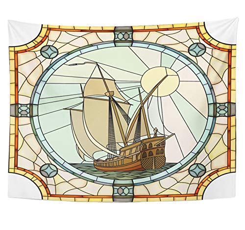 Emvency Tapestry Polyester Fabric Print Home Decor Mosaic with Large Cells of Sailing Ships The 17Th Century in Round Stained Wall Hanging Tapestry for Living Room Bedroom Dorm 60x80 inches -