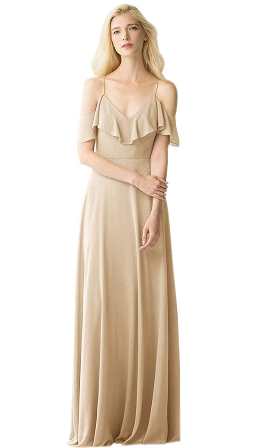 Womens V-Neck Off Shoulder Ruched Straps Bridesmaid Dress Long Chiffon Formal Evening Gown