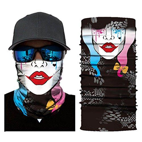 Hot Sale! Hongxin 3D Seamless Multifunction Magic Clown Joker Men Skull Ghost Shield Tube Face Mask Headband Bandana Scarf Headwear Ring Headscarf Creative Gift (F)