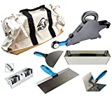 Delko Drywall Banjo Taping Tool with FREE OX Bag, Corner Roller, OX Pro Finishing Knife Set and Stainless Steel Mud Pan