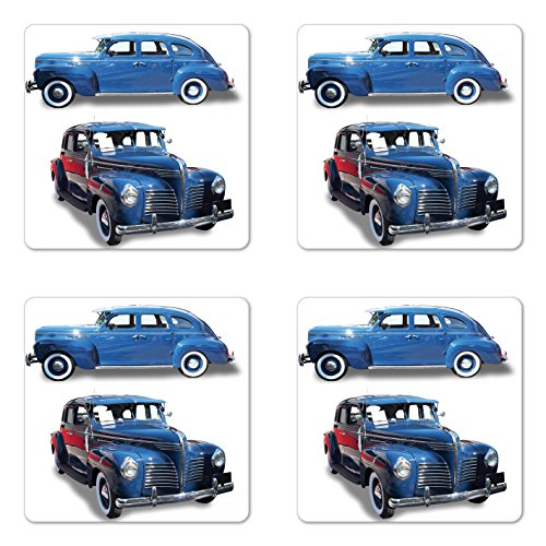 Ambesonne Vintage Car Coaster Set of Four, Picture of Old Antique Cars Historic Automobile Nostalgic Vintage Style Decor, Square Hardboard Gloss Coasters for Drinks, Blue Red ()