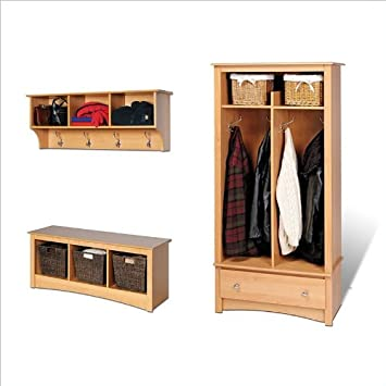 Prepac Maple Sonoma Entryway Package With Hall Tree Bench And Coat Fascinating Sonoma Coat Rack