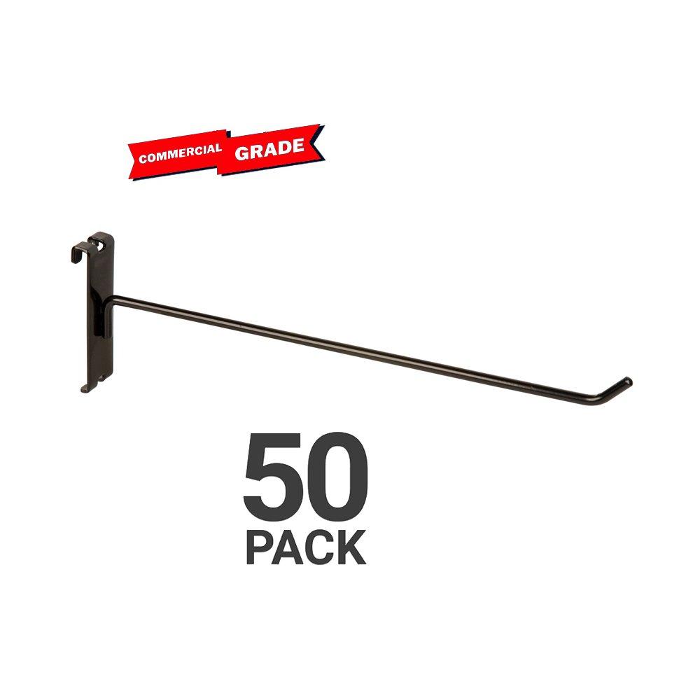 Only Garment Racks Commercial Grade Gridwall Hooks, 12'' Grid Panel Peg Hooks, Black (Pack of 50)