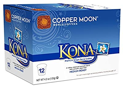 Copper Moon Single Cups for Keurig K-Cup Brewers, Kona Blend, 12 Count, Medium Roast Coffee, with A Mellow, Balanced Body, and Nutty Finish, Single-Serve Coffee Pods