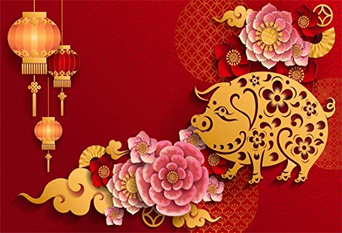 Yeele 5x3ft Vinyl 2019 Happy New Year Photography Background Spring Festival Lantern Chinese Style Pig Year Photo Backdrop Auspicious Lucky Party Banner Decor Portrait Shooting Studio Props