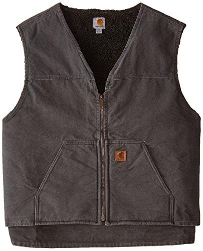 Carhartt Men's Big & Tall  Sherpa Lined Sandstone Rugged Vest V26,Gravel,4X-Large
