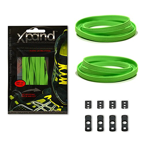 Xpand No Tie Shoelaces System with Elastic Laces - Neon Green - One Size Fits All Adult and Kids Shoes (Green Metallic Footwear)