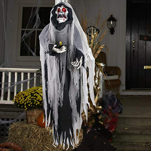Halloween Hanging Ghost - Large Life-size Halloween Prop Skull with LED Glowing Eyes and Creepy Shrilling Sound - Scary Grim Reaper with Detachable Bendable Arms - Perfect for Halloween Party -