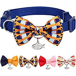 "Blueberry Pet 8 Designs Pack of 1 Timeless Navy Blue Breakaway Adjustable Chic Fish Print Handmade Bow Tie Cat Collar with European Crystal Bead on Fish Charm, Neck 9""-13"", Bow 2.4"" 2"""