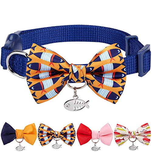 Blueberry Pet 13 Designs Pack of 1 Timeless Navy Blue Breakaway Adjustable Chic Fish Print Handmade Bow Tie Cat Collar with European Crystal Bead on Fish Charm, Neck 9