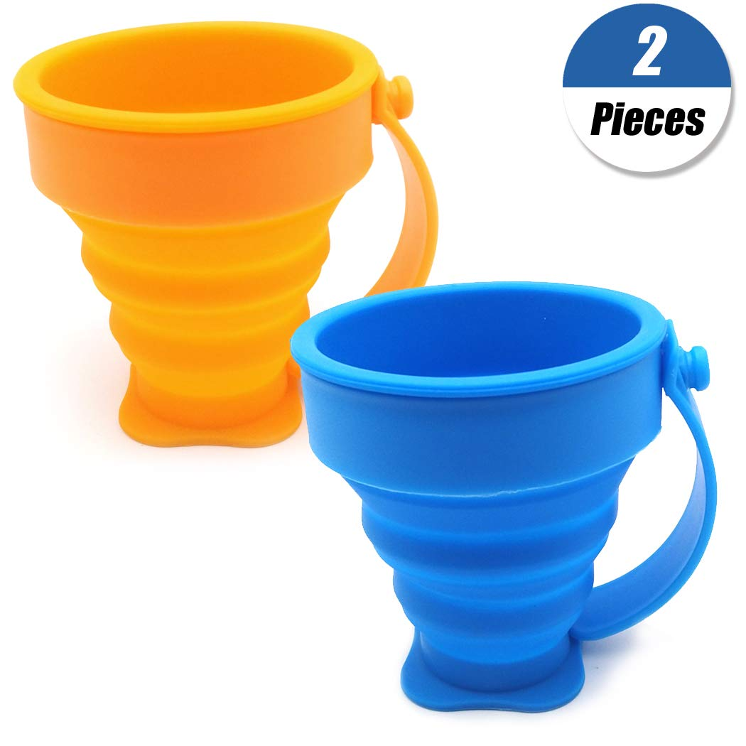 Blue Orange YuChiSX 2 Pack Collapsible Travel Cup,Silicone Water Cup Portable Folding Travel Mug for Hiking Camping Picnic