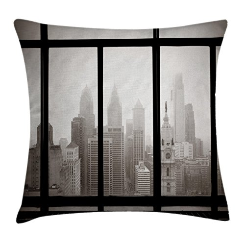 Ambesonne Scenery Throw Pillow Cushion Cover, Philadelphia City Rooftop View Through Window Skyline Landmark Rooftop Travel, Decorative Square Accent Pillow Case, 20 X 20 inches, Grey and Black by Ambesonne (Image #1)