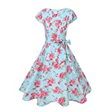 Pervobs Dress, Women Short Sleeve Print Sashes Vintage Bodycon Casual Retro Evening Party Prom Swing Knee-Length Dress (XXL, Light Blue)