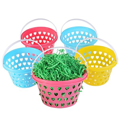 Small Easter Baskets 5pcs with Easter Grass 50g for Kids Easter Eggs -